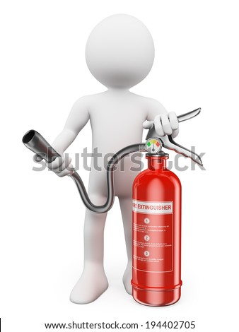 3d white people. Fire extinguisher. Isolated white background. - stock photo