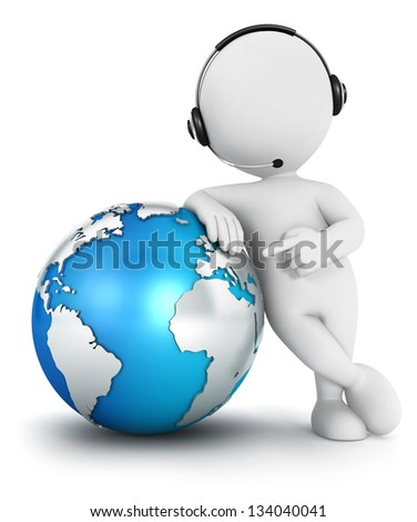 3d white people global communication, isolated white background, 3d image - stock photo