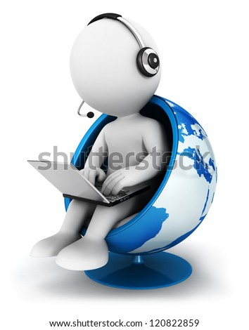 3d white people global manager seated on a world chair with laptop, isolated white background, 3d image - stock photo