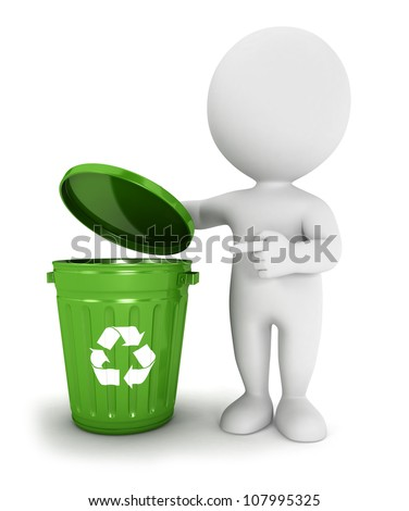 3d white people green recycle trash can, isolated white background, 3d image - stock photo