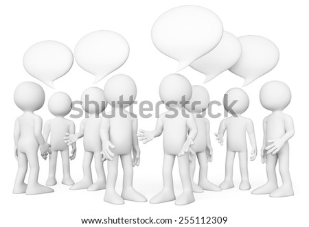 3d white people. Group of people talking. Chat concept. Isolated white background. - stock photo