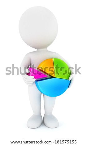 3d white people holding a chart pie, isolated white background, 3d image - stock photo