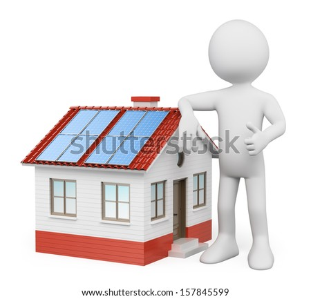 3d white people. House with solar panels. Isolated white background. - stock photo