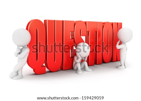 3d white people important question, isolated white background, 3d image - stock photo
