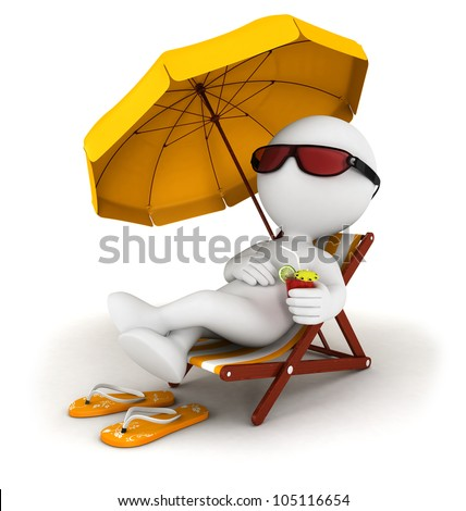 3d white people in vacation lying on a beach chair with cocktail and umbrella, isolated white background, 3d image