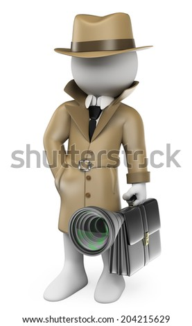 3d white people. Industrial espionage. Detective with a hidden cam. Isolated white background. - stock photo