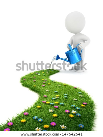 3d white people is watering a grass path, isolated white background, 3d image - stock photo