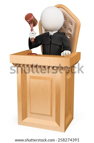 3d white people. Judge sentencing in court. Isolated white background. - stock photo