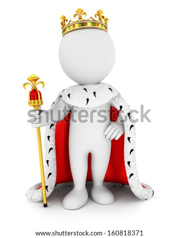 3d white people king, isolated white background, 3d image - stock photo