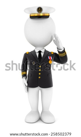 3d white people lieutenant standing to attention , isolated white background, 3d image - stock photo