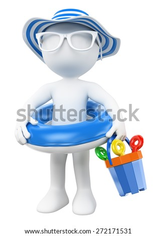 3d white people. Little girl with float and hat on the beach. Isolated white background. - stock photo
