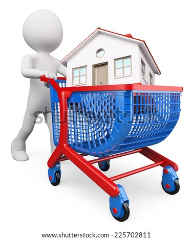 3d white people. Man carrying a house in a shopping cart. Buy a house concept. Isolated white background. - stock photo