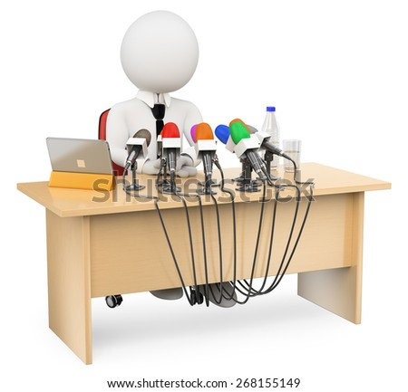 3d white people. Man in a press conference. Isolated white background. - stock photo