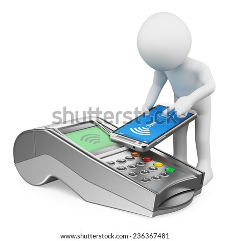 3d white people. Man paying with a mobile phone with NFC. Bank terminal. Isolated white background. - stock photo