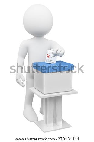 3d white people. Man putting his ballot paper in a ballot box. Isolated white background. - stock photo