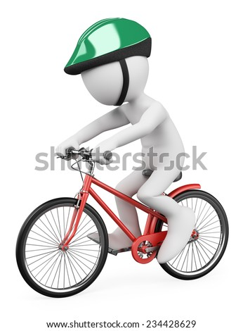 3d white people. Man riding a red bicycle with a green helmet. Isolated white background. - stock photo