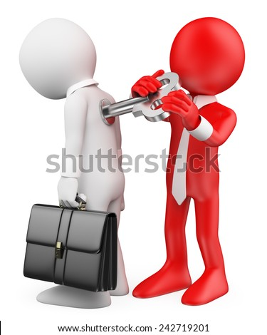 3d white people. Man winding up an employee. Motivation metaphor. Isolated white background. - stock photo