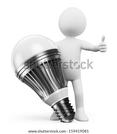 3d white people. Man with a led lamp. Isolated white background. - stock photo