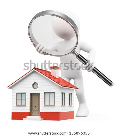 3d white people. Man with magnifying glass looking for house. Isolated white background. - stock photo