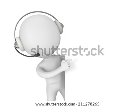 3d white people manager peeking from behind and points finger isolated on white render. - stock photo