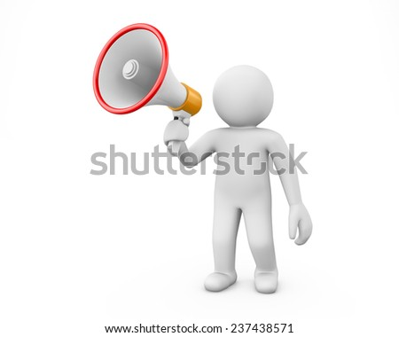 3d white people megaphone - Stock Image - stock photo