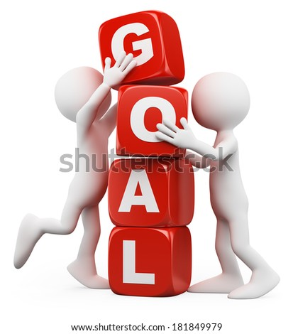 3d white people. Men stacking cubes with the word goal. Isolated white background. - stock photo