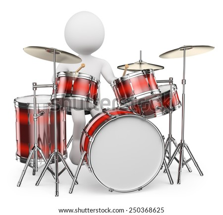 3d white people.  Musician playing drums. Isolated white background.  - stock photo
