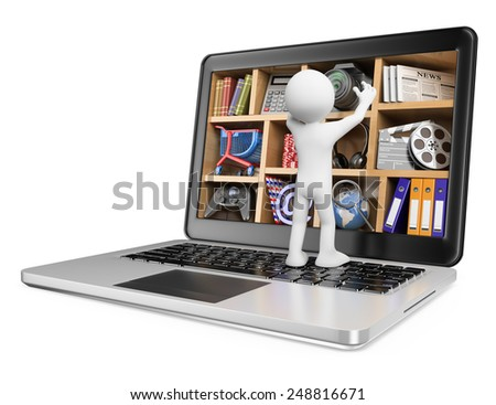 3d white people. New technologies. Laptop. Multimedia concept. Isolated white background. - stock photo