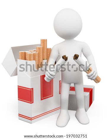 3d white people. No smoking concept. Man breaking a cigarette. Isolated white background.  - stock photo