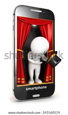 3d white people on smartphone stage, isolated white background, 3d image - stock photo