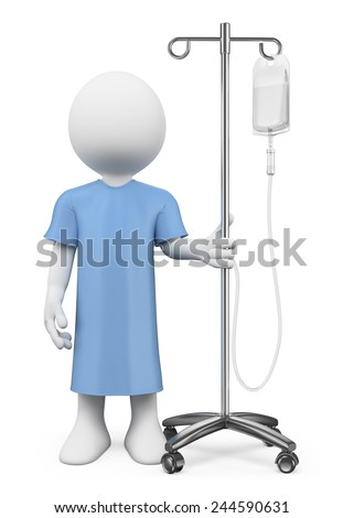 3d white people. Patient in hospital with serum. Isolated white background. - stock photo