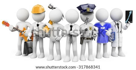 3d white people. People working in different professions. Isolated white background. - stock photo