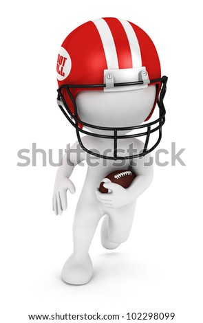 3d white people playing american football with a ball and wearing a red helmet, isolated white background, 3d image - stock photo