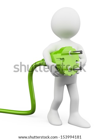 3d white people. Plug green power cable. Isolated white background.
