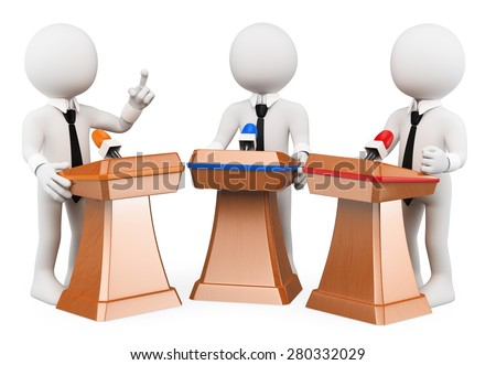 3d white people. Political debate. Political campaign. Isolated white background.  - stock photo