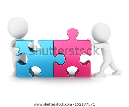 3d white people puzzle connection, isolated white background, 3d image