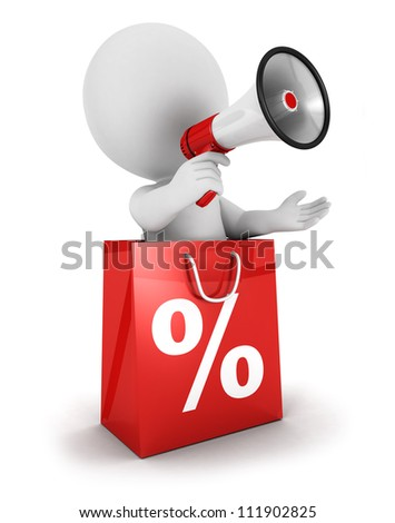 3d white people sale announcement with megaphone inside shopping bag, isolated white background, 3d image