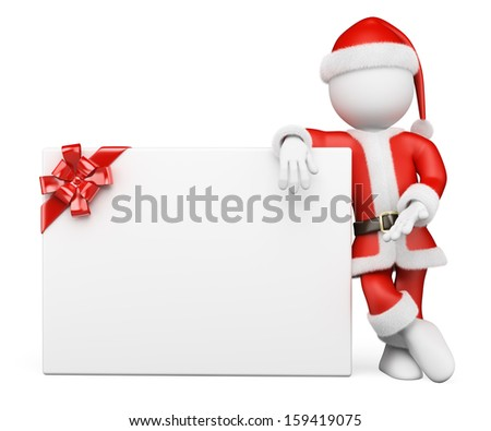 3d white people. Santa Claus leaning on a blank banner with a ribbon. Isolated white background. - stock photo
