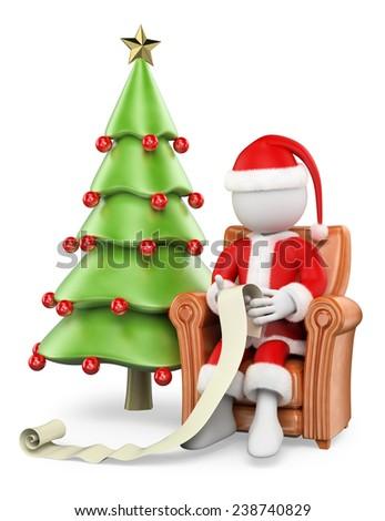 3d white people. Santa Claus sitting on his sofa reading children wishlist. Isolated white background. - stock photo