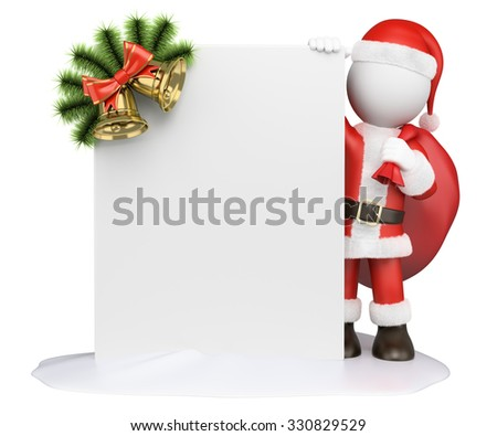 3d white people. Santa Claus with a blank and a garland. Isolated white background.  - stock photo