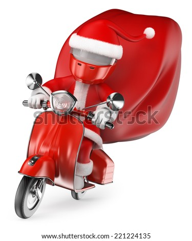 3d white people. Santa delivering gifts by motorcycle. Isolated white background.