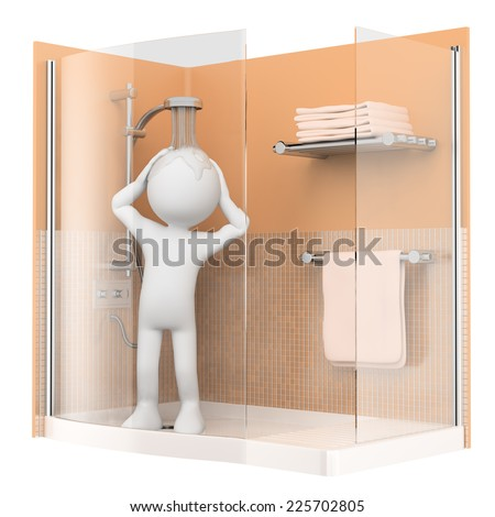 3d white people. Showering in the morning. Isolated white background. - stock photo