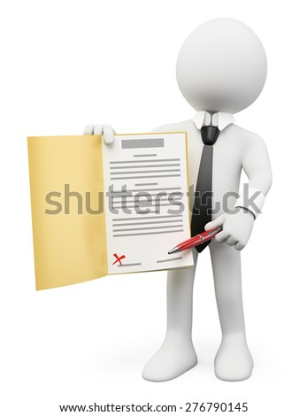 3d white people. Sign up concept. Isolated white background. - stock photo