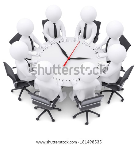 3d white people sitting at the round table. On the table a large clock. The concept of time