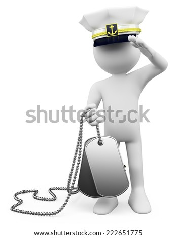 3d white people. Soldier giving a military salute in Veterans Day. Dog tags. Isolated white background.  - stock photo