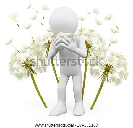 3d white people. Spring allergies. Dandelion. Isolated white background. - stock photo
