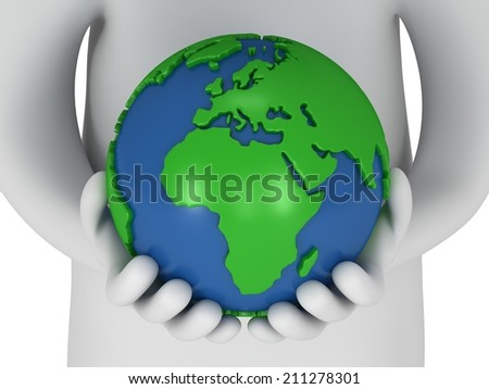 3d white people stand with earth planet globe in his hands. Isolated on white. - stock photo