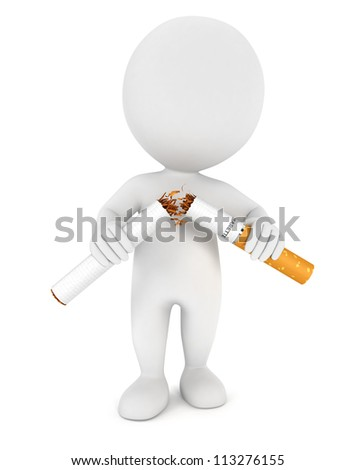 3d white people stopped smoking, isolated white background, 3d image - stock photo