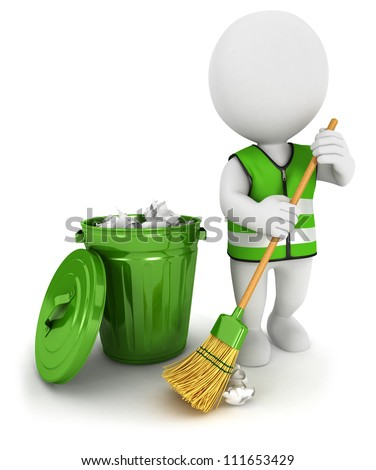 3d white people street sweeper and a trash can, isolated white background, 3d image - stock photo
