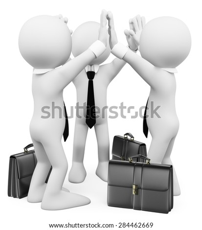 3d white people. Success business teamwork. Isolated white background. - stock photo